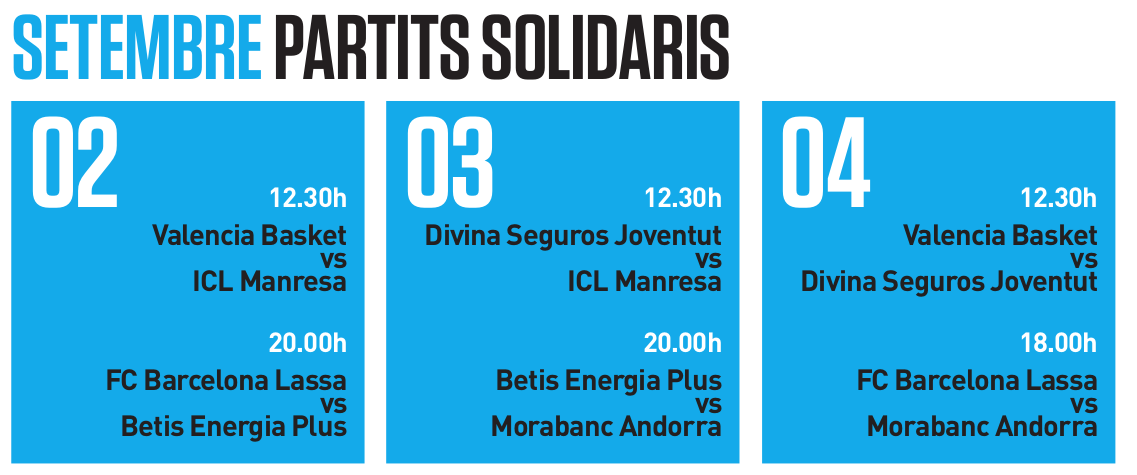 Horaris partits ACB: Divendres 2/9, 12h30: Valencia Basket – ICL Manresa, Divendres 2/9, 20h: FC Barcelona Lassa – Real Betis Energía Plus, Dissabte 3/9, 12h30: Seguros Divina Joventut – ICL Manresa,  Dissabte 3/9, 20h: Morabanc Andorra – Real Betis Energía Plus,  Diumenge 4/9, 12h30: Seguros Divina Joventut – Valencia Basket, Diumenge 4/9, 18h: FC Barcelona Lassa – Morabanc Andorra